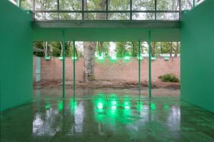 Strange lights illuminate the Swiss pavillion at the Biennale.