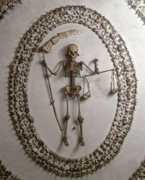 Human bones decorate church crypt.