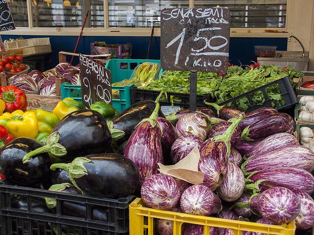 Eggplant in Rome Farmers market