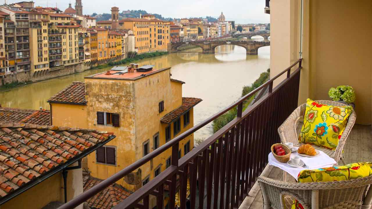 Terrace on Rainy Day in Florence Italy