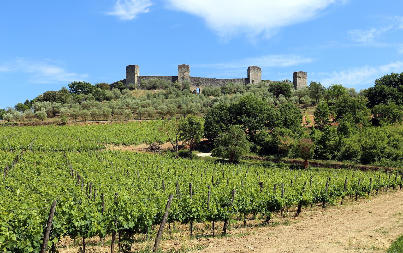 View of Monteriggioni in Tuscany