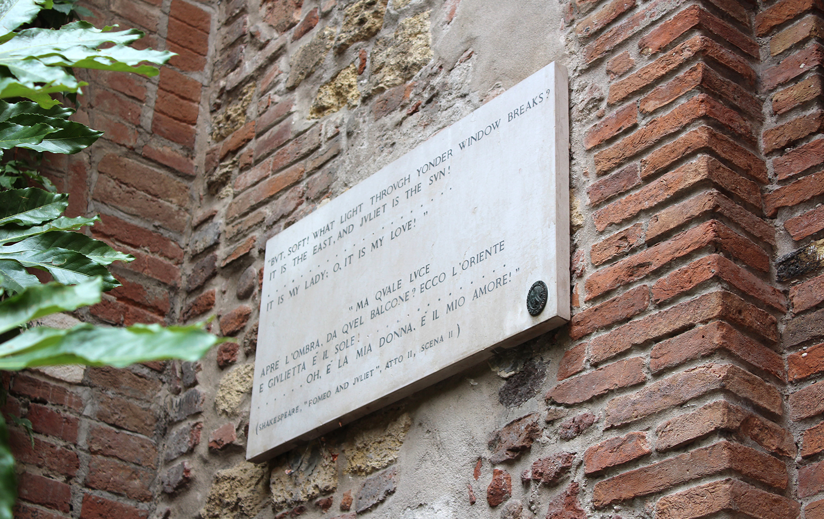 Shakespeare sign at Juliet's House