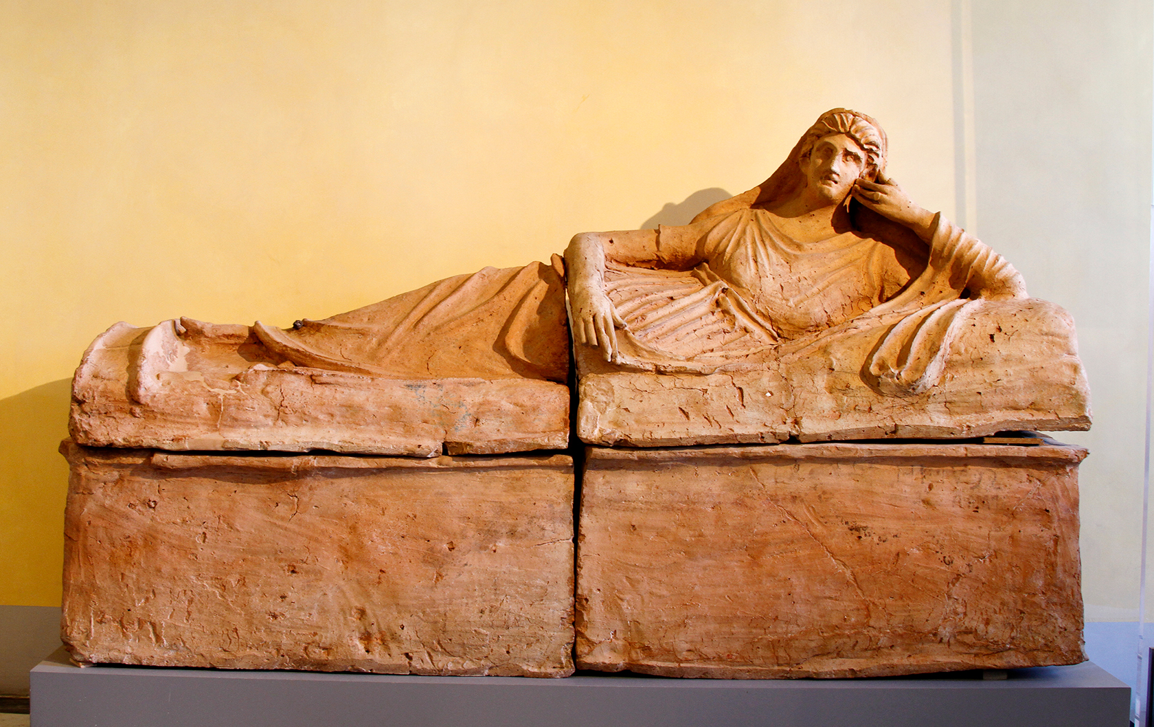 Etruscan tomb statue on display at the Musei Capitolini in Rome