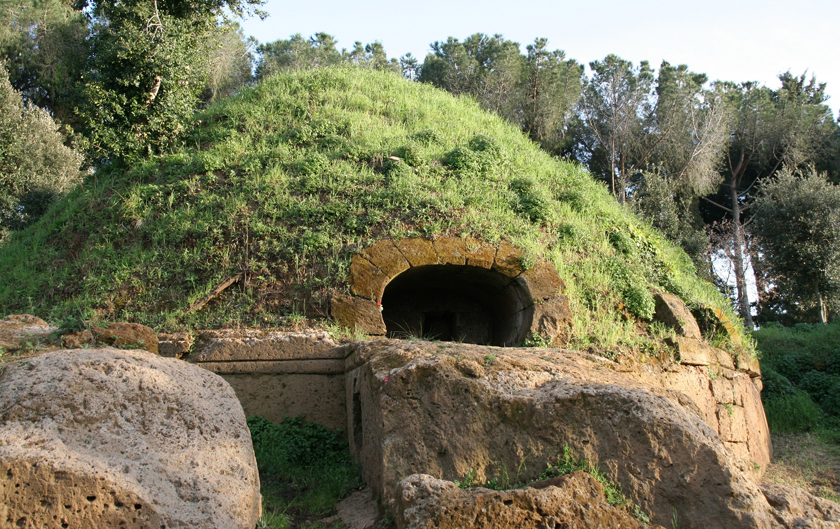 The domed roof of a tomb at the Necropolis of Cerveteri